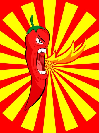 open flame: angry red chili spurt fire Illustration