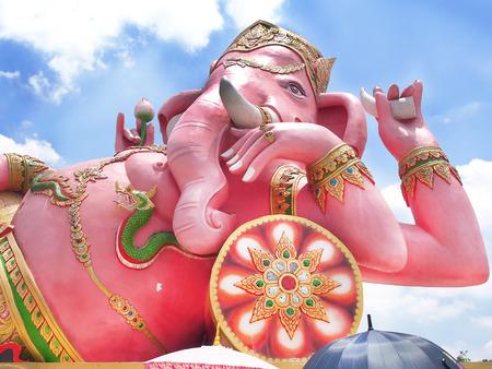 ganapati: Pink ganesh god at thailand Stock Photo