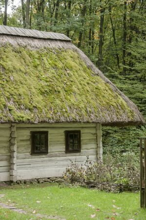 a house with a straw: Old house with  straw roof covered with moss in the forest Editorial