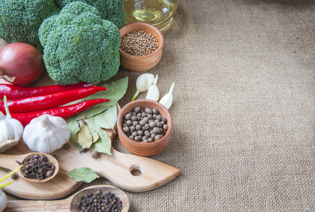 Spices, fresh vegetables and other ingredients to prepare healthy and tasty meal gourme
