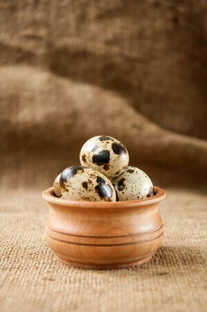 huevos de codorniz: huevos de codorniz - alimento �til y nutritivo Foto de archivo
