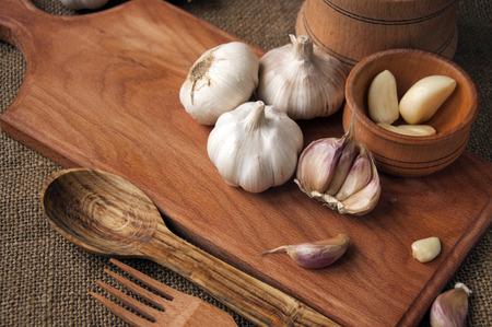 Knoflook ingrediënten voor hartige gerechten Stockfoto