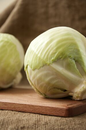 cabbage on wooden board for cutting