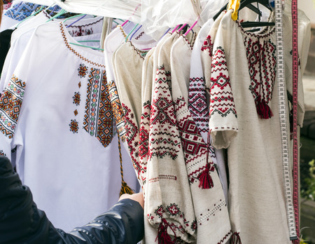 lappet: Ukranian ethnic national folks ornament on clothes. Slavic traditional pattern ornament embroidery by cross-stitch . Ethnic texture design.