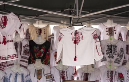 ukranian: Ukranian ethnic national folks ornament on clothes. Slavic traditional pattern ornament embroidery by cross-stitch . Ethnic texture design.