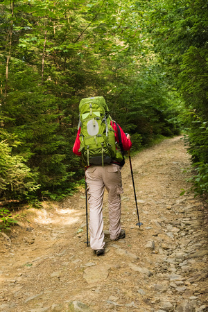 trekking pole: Male hiker with big green traveling rucksack and trekking pole moving up on the mountain trail and  happy traveler overcome big way  looking away, adventure travel and discovery