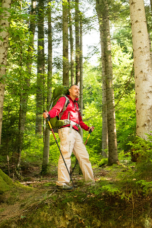 trekking pole: Attractive tourist with a big backpack trip and trekking pole   on a mountain trail and smiling, happy traveler overcome a long way smiling, looking aside, adventure travel and discovery