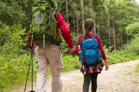 Back view of two hikers holding hands father and daughter with backpacks walking on forest trail. Back view of family on a trekking day in countryside. Concept health lifestyle. 写真素材