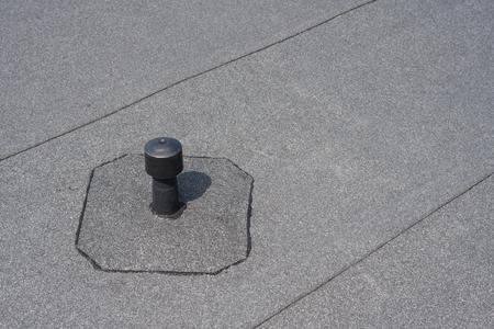 flat roof: Roof ventilation. Aerator - flat roof ventilation. Roofing felt. Roof ventilated.