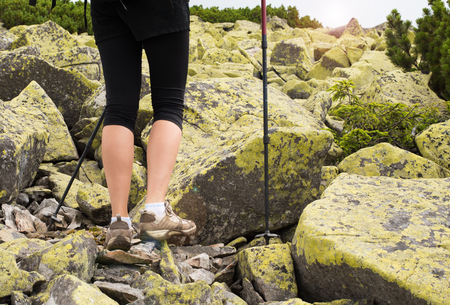 nordic nature: Woman hiking in mountains, adventure and exercising. Legs and nordic walking poles in  nature. Young fitness woman legs walking on mountains hike. Close-up of shoes and trekking poles on  mountains