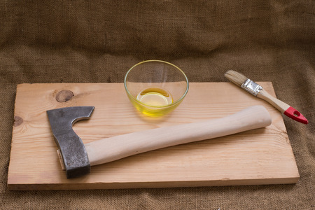 old items:  Upgrade axe. Paintwork handle axe flaxseed oil, for water resistance. Upgrade axe. Scandinavian ax. tourist hatchet. Improving tourist ax. waterproofing handle axe.