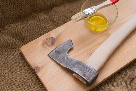 Upgrade axe. Paintwork handle axe flaxseed oil, for water resistance. Upgrade axe. Scandinavian ax. tourist hatchet. Improving tourist ax. waterproofing handle axe.