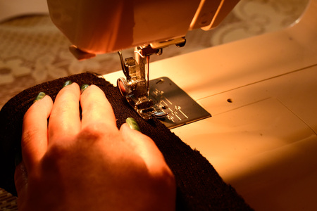 sewing machine closeup Stock Photo