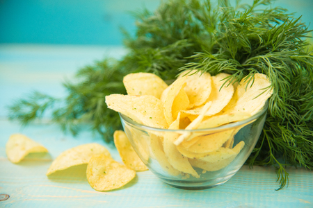 Potato chips with spicy Stock Photo