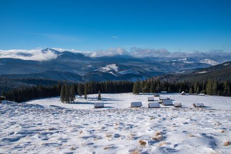 Beautiful winter panoramic view snow capped mountains Stok Fotoğraf