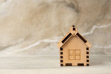 Miniature of wooden house real estate concept Stockfoto