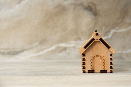 Miniature of wooden house real estate concept 写真素材