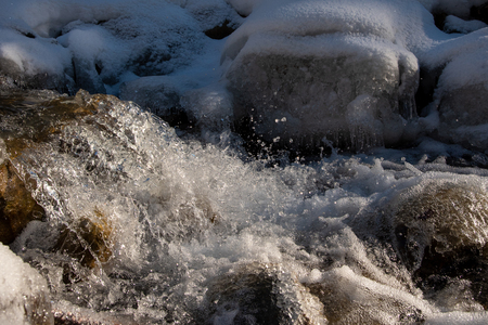 Texture of boiling water, waterfall, mountain river, 写真素材
