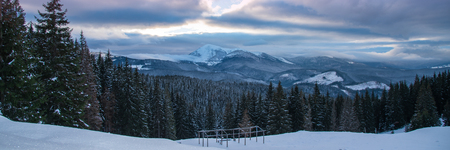 Beautiful winter panoramic view snow capped mountains 写真素材