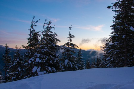 Amazing landscape in the winter mountains at sunrise 写真素材 - 121820668