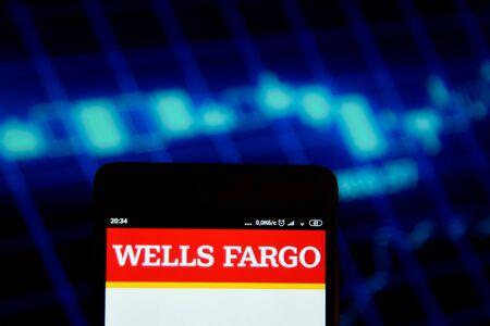 Wells Fargo seen on the smartphone screen