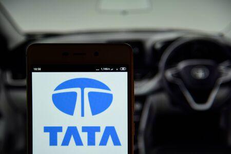 Tata logo seen on the smartphone screen