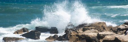 Scenery of the strong force wave sea water splashing