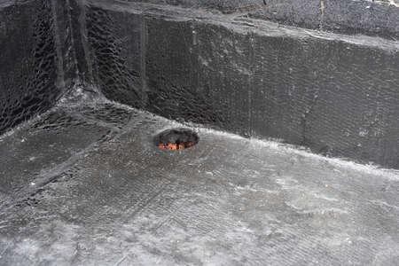 rainwater drain. Flat roof drain close up Stock Photo