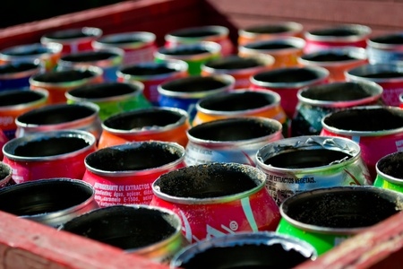 Cans used as ashtrays at the beach