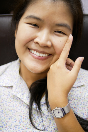 Head Shot Portrait of Young Asian Woman Smile