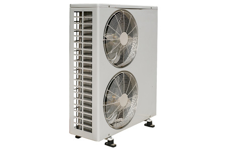 Double Fan Horizontal Outdoor Condensing Unit on isolated background Imagens