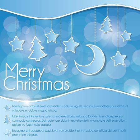Blue Christmas card  Illustration