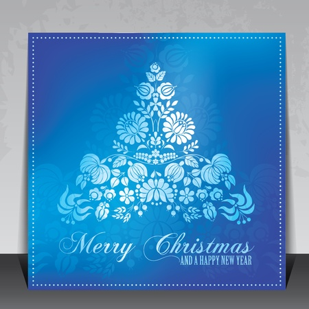hungarian: Ethnic decorative Christmas card vector with Hungarian folklore ornaments