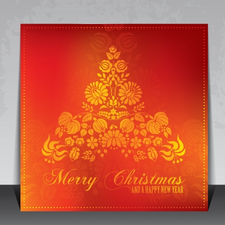 Beautiful ethnic decoration Christmas gift card with Hungarian folklore ornaments Illustration