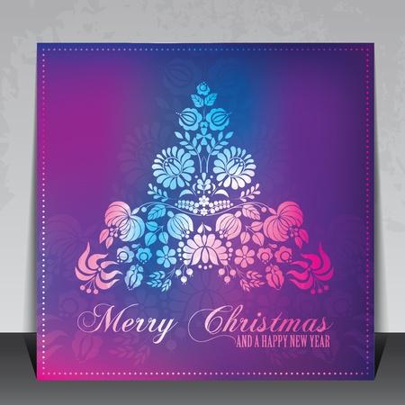 헝가리 민속 장신구와 민족 장식 크리스마스 카드 벡터 일러스트