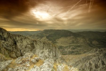 Dark sky over the mountains Stock Photo