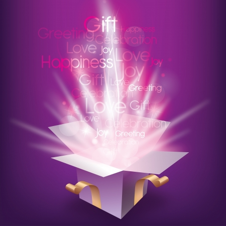 light box: Colorful Christmas card with magic gift box and seasonal words Illustration