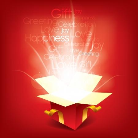 계절의 단어와 함께 마법의 크리스마스 상자