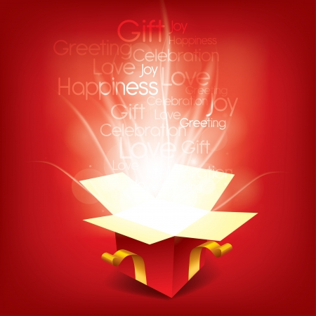 red gift box: Magic Christmas box with seasonal words