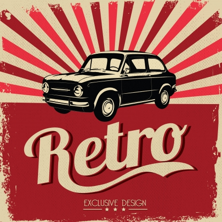 classic car: Vintage car design flyer - Grungy style
