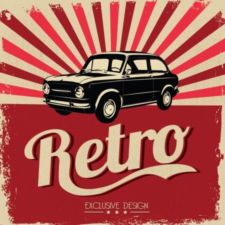 coche clásico: Vintage car flyer design - estilo sucio
