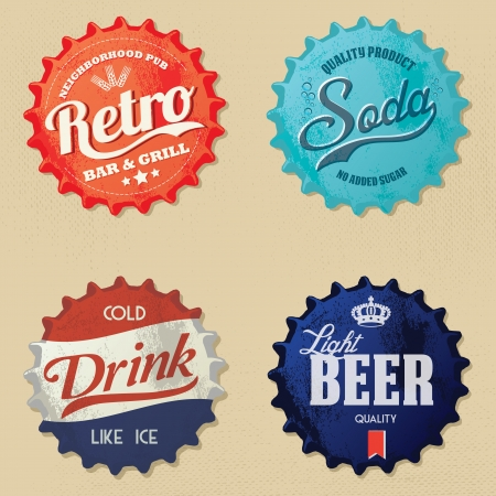 tavern: Retro bottle caps design - Vintage style Illustration