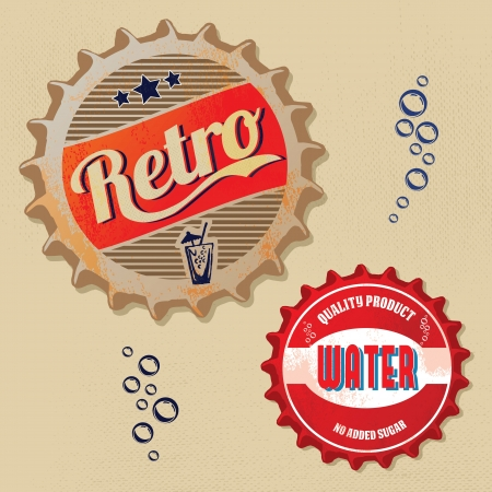 taverns: Retro bottle caps design - Vintage style Illustration