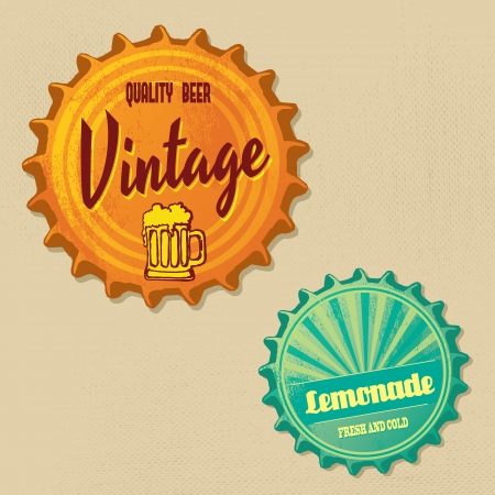 Retro bottle caps design - Vintage grungy style