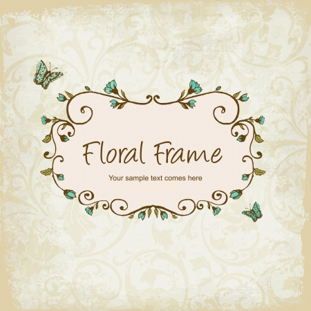 feminine background:  floral frame with Butterly Illustration
