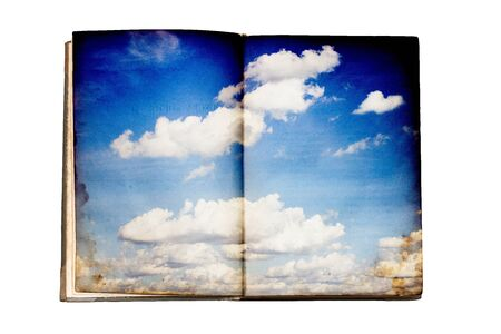 Old book with sky illustration
