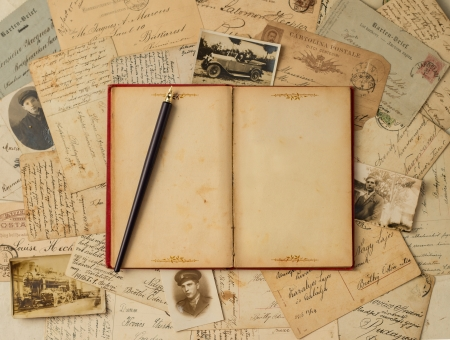Vintage background with old post cards and empty open book photo