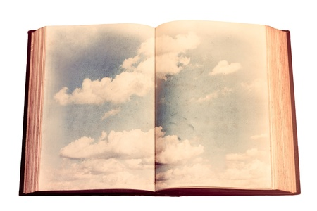 Old book with sky illustration illustration