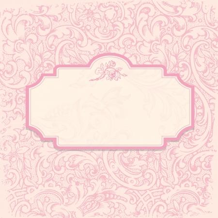 royal person: Vintage elegant invitation card with floral background