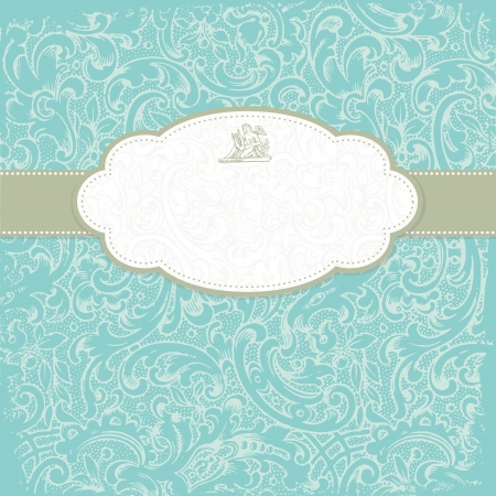 teal background: Vintage elegant invitation card with floral background